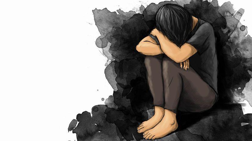 kresba, žena, trápenie, depresia, smútok