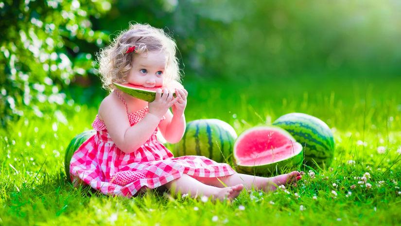 melón, dieťa, leto, osvieženie, ochladenie