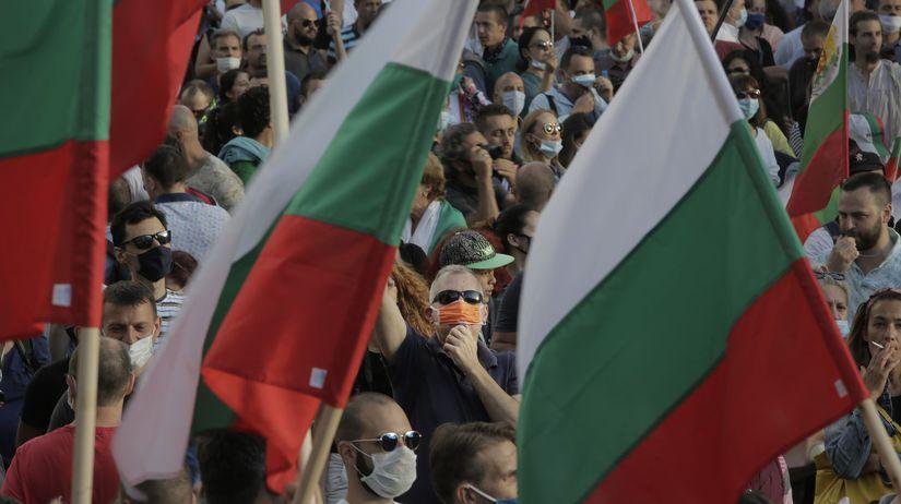 Bulharsko / Vlajka / Protest / Demonštrácia /