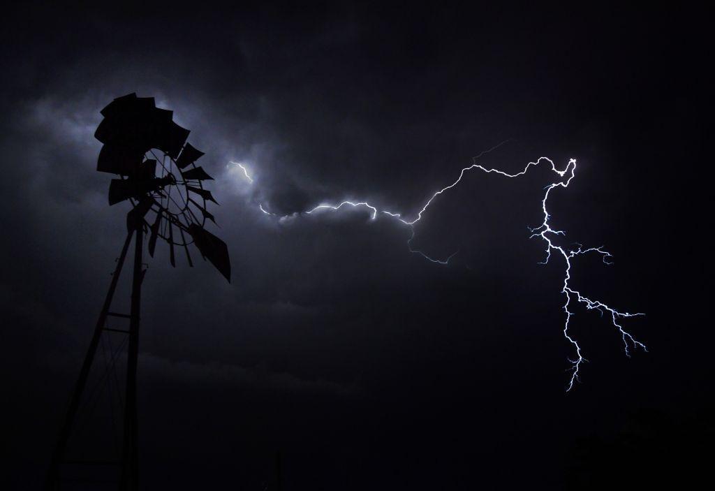 Texas, blesk, búrka, počasie, mlyn