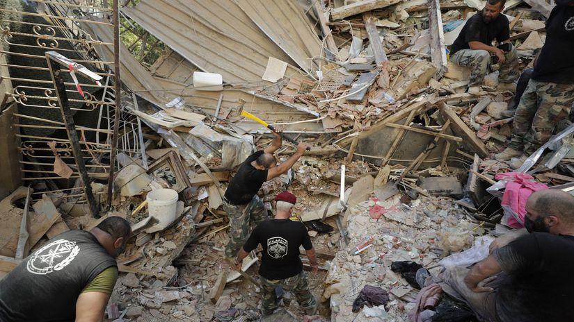libanon bejrút trosky výbuch ruiny
