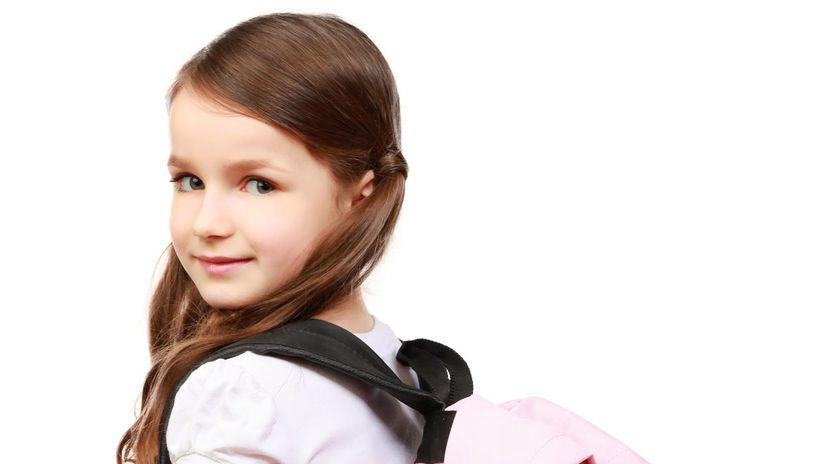 dieťa, školská taška, žiačka, škola