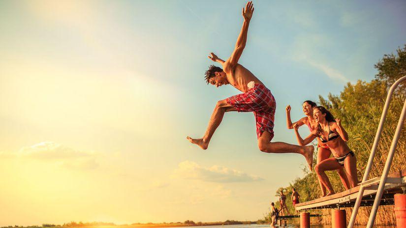 leto, kúpanie, voda, skok, radosť