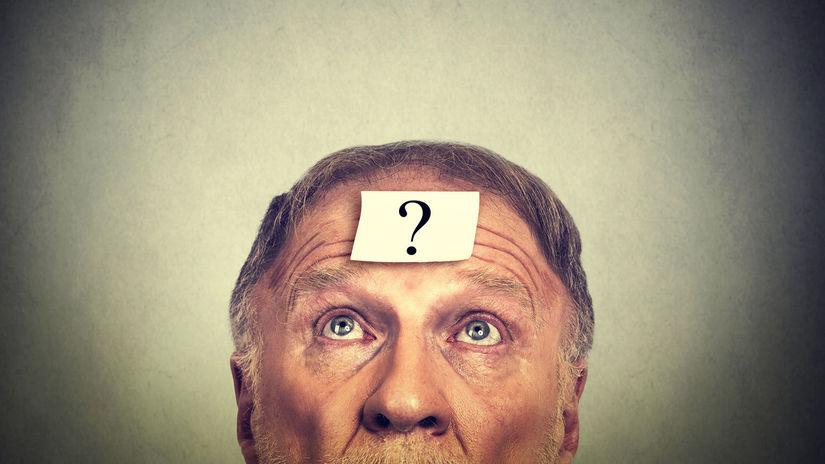 dôchodca, otáznik, otázka