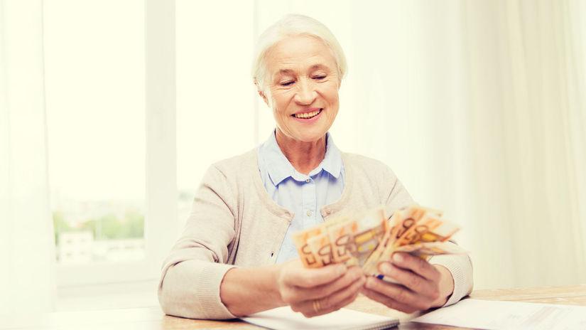 dôchodkyňa, peniaze, bankovky, vejár, radosť,...