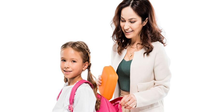 mama, dieťa, škola, balenie, prváčka