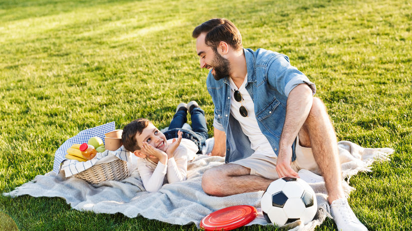 olovrant, piknik, deka, lúka, otec, zdravá...