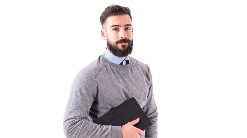 muž, zápisník, úsmev, brada