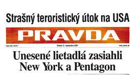 Pravda, titulná strana, titulka 12. september 2001