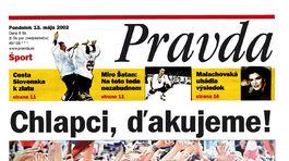 Pravda, titulná strana, titulka 13. máj 2002