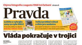 Pravda, titulná strana, titulka 20. august 2016