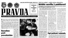 Pravda, titulná strana, titulka 20. november 1989