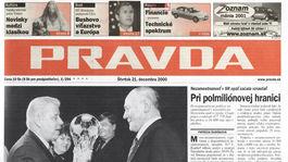 Pravda, titulná strana, titulka 21. december 2000