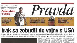 Pravda, titulná strana, titulka 21. marec 2003