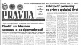 Pravda, titulná strana, titulka 22. november 1989