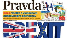 Pravda, titulná strana, titulka 25. jún 2016