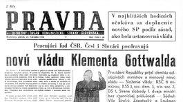 Pravda, titulná strana, titulka 27. február 1948