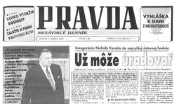 Pravda, titulná strana, titulka 3. marec 1993