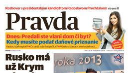 Pravda, titulná strana, titulka 4. marec 2014