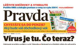 Pravda, titulná strana, titulka 7. marec 2020