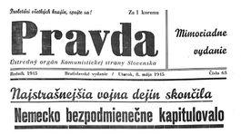 Pravda, titulná strana, titulka 8. máj 1945
