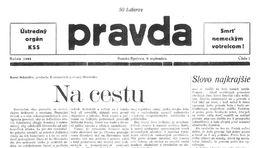 Pravda, titulná strana, titulka 9. september 1944