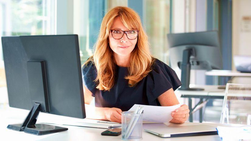 žena, práca, kancelária, papiere