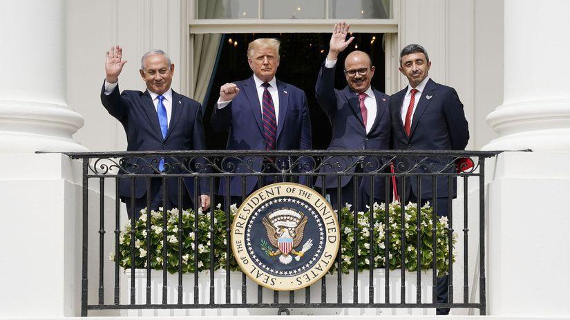 Trump netanjahu  Khalifa  Al-Nahyan biely dom
