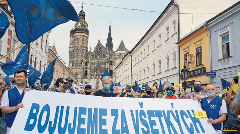 odbory, protest, Košice