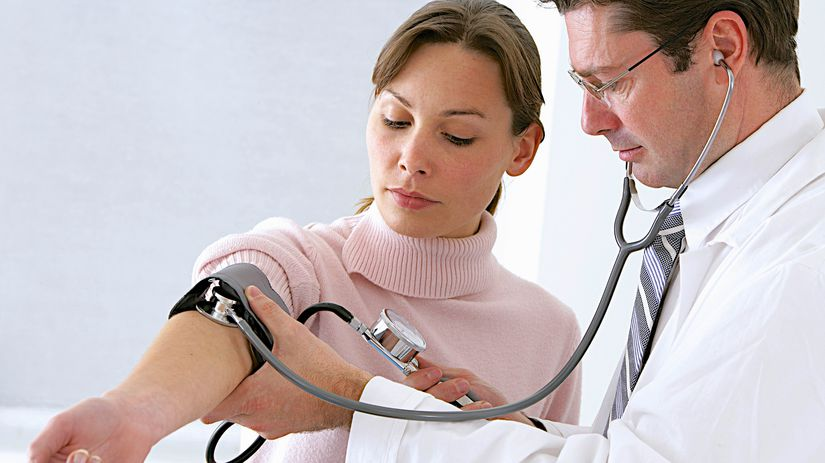 doktor, pacient, tlak, meranie, tlakomer