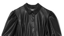 Čierne šaty zo syntetickej kože Reserved, predávajú sa za 39,99 eura.