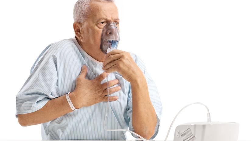 kyslíková maska, dýchanie, choroba, muž, chorý,...