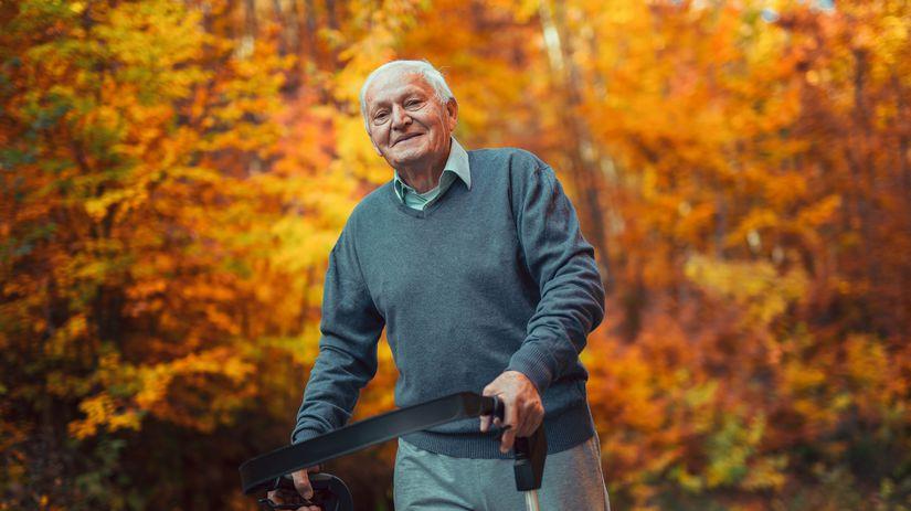 jeseň, dedko, prechádzka, senior, penzista