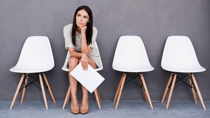 žena, práca, pohovor, čakanie, stoličky