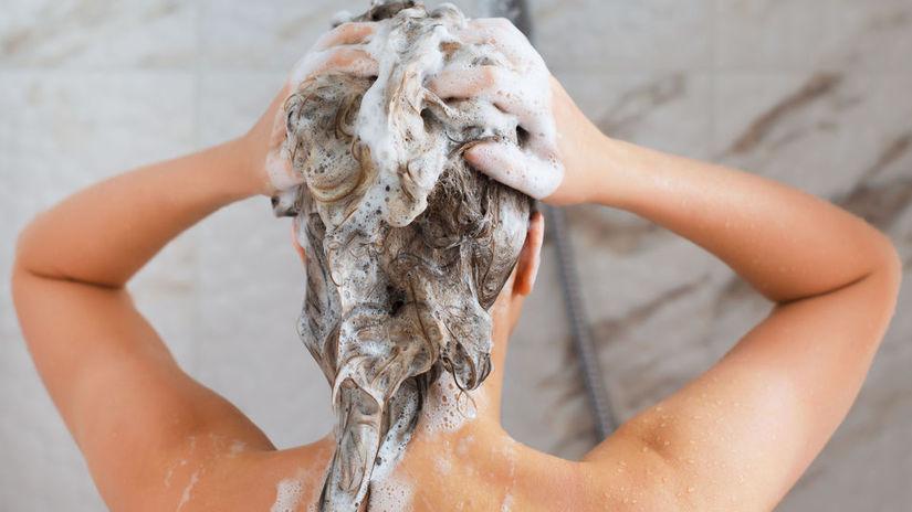 šampón, žena, vlasy, umývanie