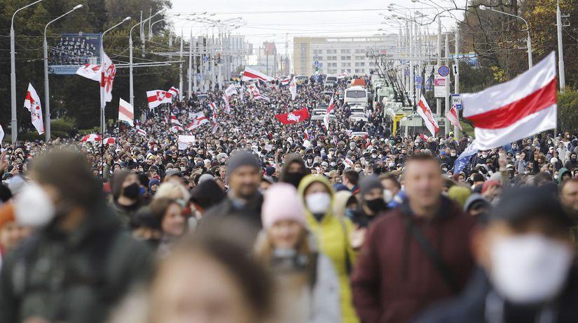 Bielorusko Minsk protest demonštrácia