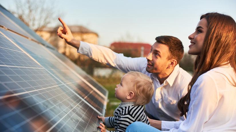 rodina, solárny panel, bábätko, ukazovanie, dieťa