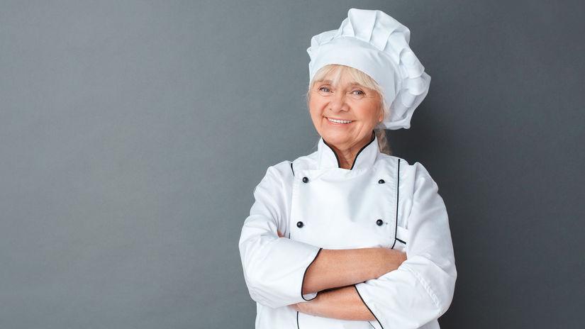 kuchárka, dôchodkyňa, babička, úsmev, pracujúci...