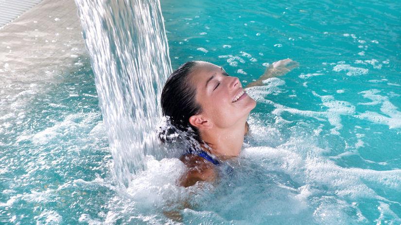žena, kúpele, relax, bazén