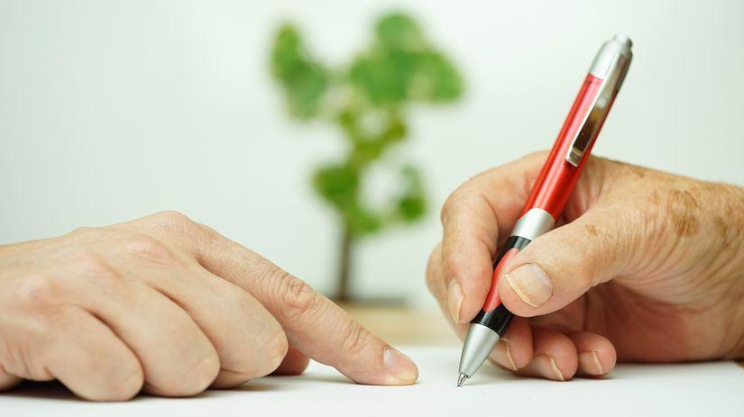 ruka, ruky, podpis, ukazovanie, senior