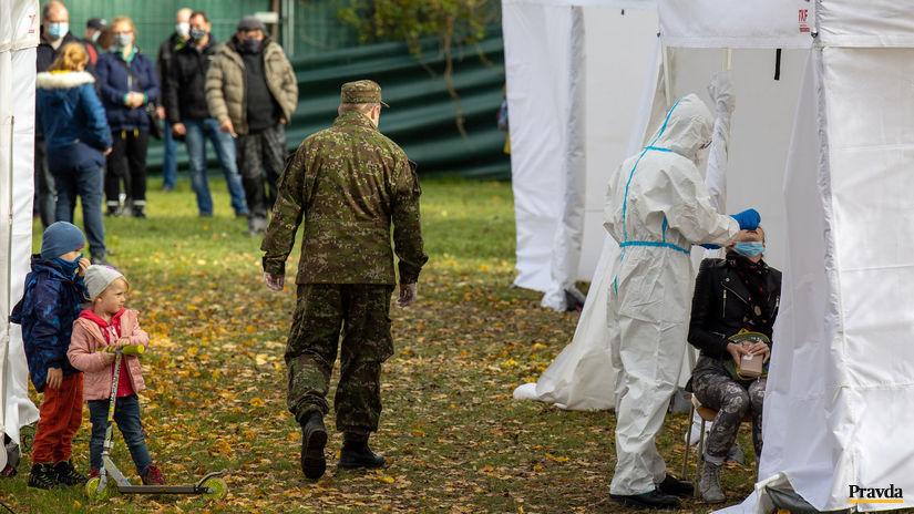 testovanie, koronavírus, vojak