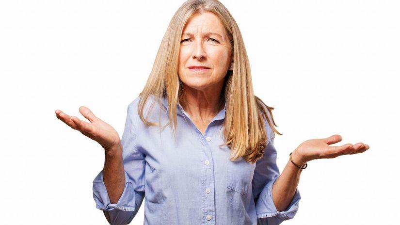 žena, otázka, nechápe, penzistka