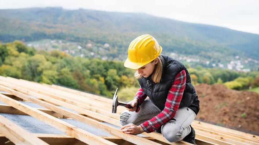 žena, práca, strecha, robotníčka, podnikanie, hory