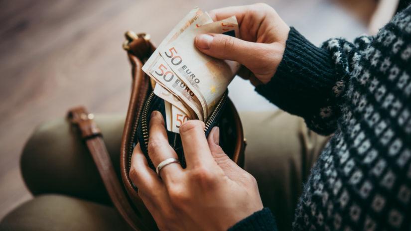 peňaženka, peniaze, bankovky, euro