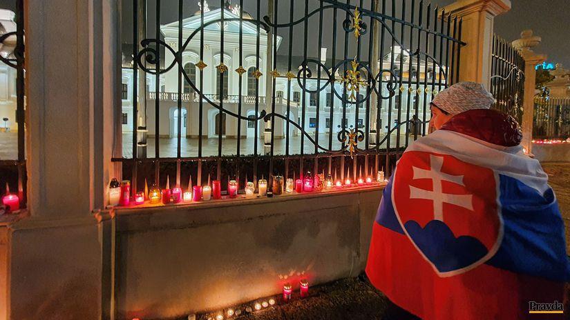 protest, prezidentský palác, sviečkový protest