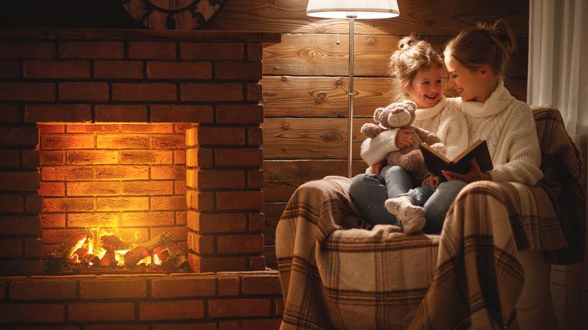 mama, dieťa, čítanie, kozub, teplo, domov