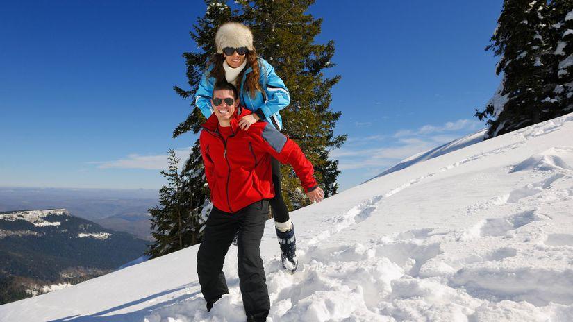 hory, zima, sneh, manželia, radosť
