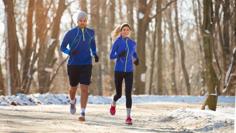 kondícia, šport, zima, beh, manželia