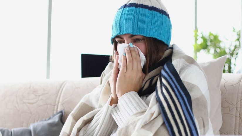žena, choroba, smrkanie, vreckovka, teplota,...