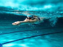 plávanie, žena, bazén, plaváreň